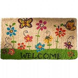 Doormat~ Bohemian Hippy Coconut Fibre Butterfly and Flowers Welcome Doormat~ By Folio Gothic Hippy DM34